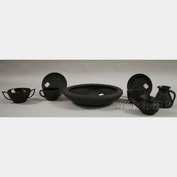 Six Pieces of Wedgwood Black Basalt Tableware