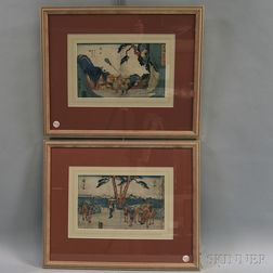 Utagawa or Ando Hiroshige (Japanese, 1797-1858) Two Woodblock Prints from the Tokaido Gojusan Tsugi/The Fifty-Three Stations of the Tok