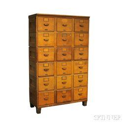 Large Oak Six-stack Filing Cabinet