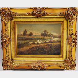 Anglo-American School, 19th Century      Girl Herding Geese