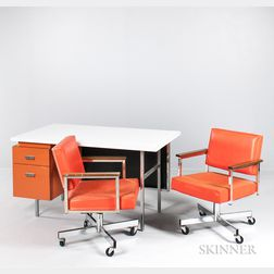 George Nelson EOG Desk and Two All.Steel Armchairs