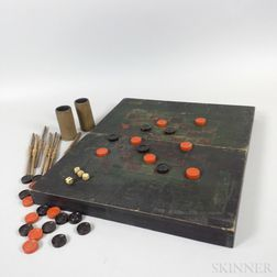 Painted Pine Hinged Game Board and Game Pieces