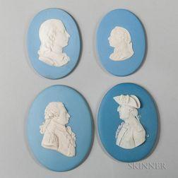 Four Wedgwood Solid Light Blue Jasper Portrait Medallions