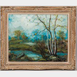 Leon Louis Dolice (American, 1892-1960)      Spring Birches.