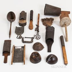 Group of Mostly Tin and Wood Make-do Tools and Domestic Items.     Estimate $100-150