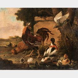 After Melchior de Hondecoeter (Dutch, 1636-1695)      Roosters, Ducks, and Hawk in a Landscape