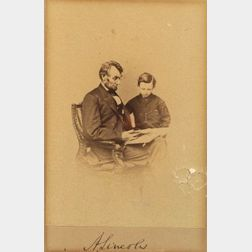 Rare and Important Signed Photograph of Abraham Lincoln and His Son Tad