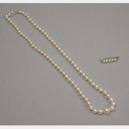 Single-strand Graduated Cultured Pearl Necklace and Small Pearl Barrette