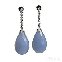 Blue Chalcedony and Diamond Earrings