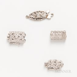 Four 18kt White Gold and Diamond Clasps
