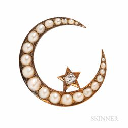 Antique Gold, Split Pearl, and Diamond Crescent Brooch