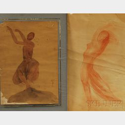 Ernest Durig (French, 1894-1962) after Auguste Rodin (French, 1840-1917), Two Works on Paper: Danseuse cambodgienne [Cambodian Dancer]