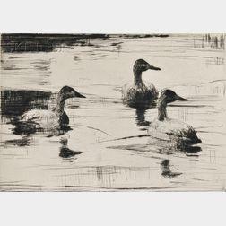 Frank Weston Benson (American, 1862-1951)      Two Waterfowl Subjects: Flying Brant