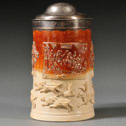 Silver-mounted Brown Salt-glazed Stoneware Tankard