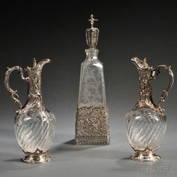 Three Continental Rococo-style Silver-mounted Colorless Glass Items