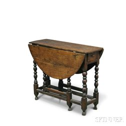 William & Mary-style Oak Oval-top Gate-leg Table