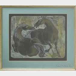 Hans Erni (Swiss, 1909-2015)      Two Horses