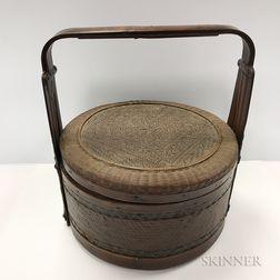 Split Bamboo Woven Handled Food Basket