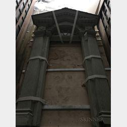 Monumental American Carved Wood Doorway Exterior.