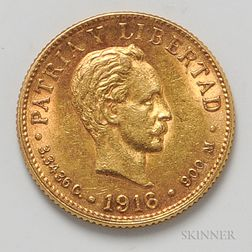 1916 Cuban 2 Pesos Gold Coin