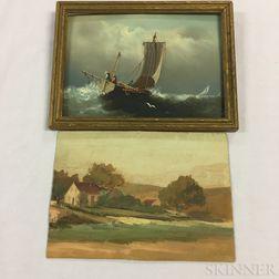 American School, 20th Century      Two Paintings: Sailing on Rough Seas