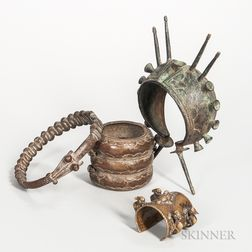 Three Senufo-style Bronze Armbands and a Bronze Collar