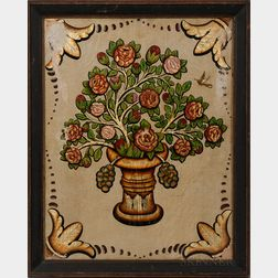 Colored Gold Leaf on Painted Linen Vase of Flowers with Hummingbird