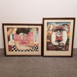 Three Framed Marija Jug-Pecaric (Croatian, b. 1937) Watercolors