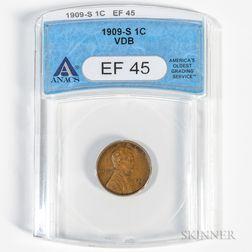 1909-S VDB Lincoln Cent, ANACS EF45.     Estimate $600-800