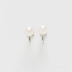 Pair of 14kt White Gold and Cultured Pearl Earclips