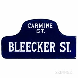 Blue and White Enamel Bleecker Street and Carmine Street Sign