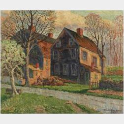 Henry Orne-Rider (American, b. 1860)  The Old Sibley Houses, Weston Mass.