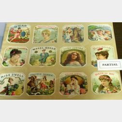 Group of Forty Lithographed Paper Cigar Labels, Trade and Greeting Cards