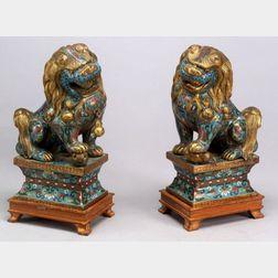 Pair of Cloisonné Lions