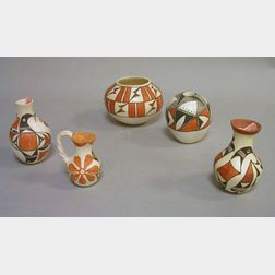 Five Small Acoma Pueblo Paint Decorated Pottery Vessels