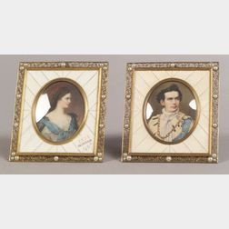 Two Miniatures on Ivory of European Royalty