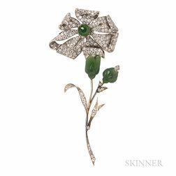 Nephrite and Diamond Flower Brooch