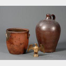 Redware Jar, Stoneware Jug, and a Cast Gilt-brass Eagle