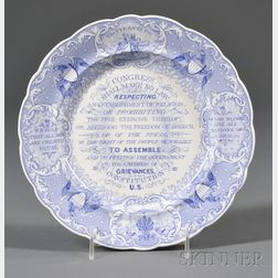 Blue Transfer-decorated Staffordshire Pottery Anti-Slavery Plate