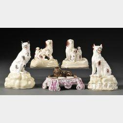 Five Rockingham Porcelain Dog Figurines