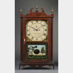 Lucius B. Bradley Mahogany Pillar and Scroll Shelf Clock