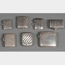 Seven English Silver Match Safes