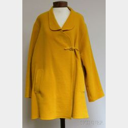 Vintage Oscar de la Renta Mustard Wool Cape-style Coat