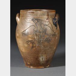 Stoneware Jar with Incised Patriotic Eagle Decoration