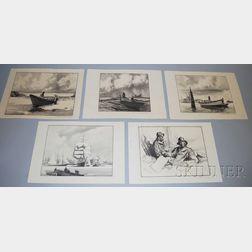 Gordon Hope Grant (American, 1875-1962)      Five Unframed Sea-themed Lithographs