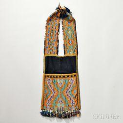 Chippewa Loom-beaded Cloth Bandolier Bag