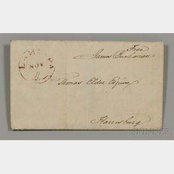 Buchanan, James (1791-1868) Signed Free Frank, 11 November 1827.