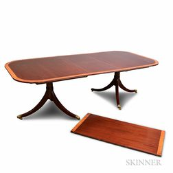 Regency-style Inlaid Mahogany Double-pedestal Dining Table Retailed by Spivaks