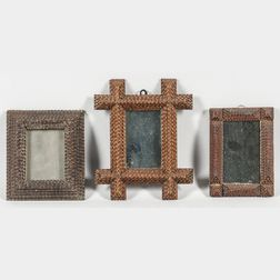 Three Small Tramp Art Mirrors