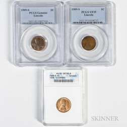 Three 1909-S Lincoln Cents